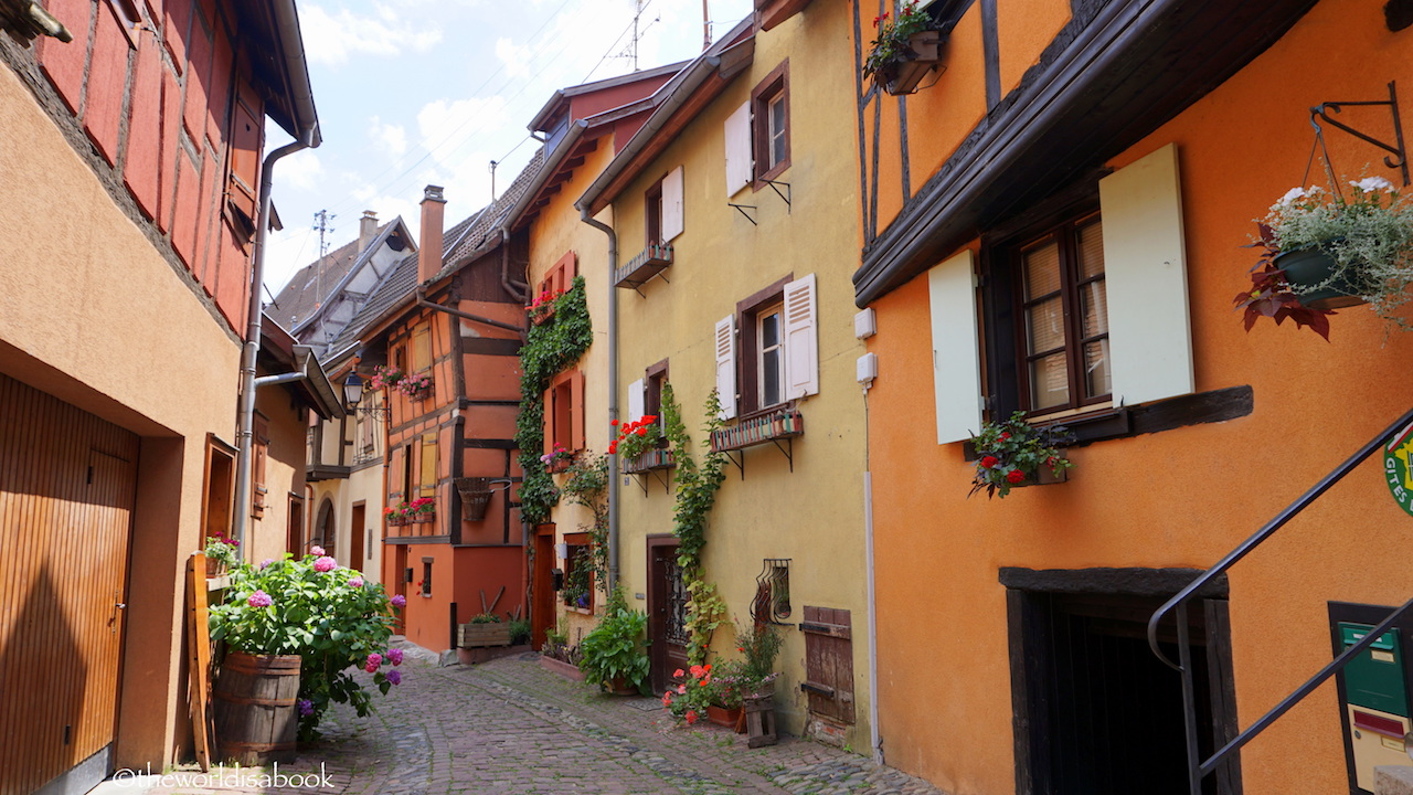 Eguisheim colorful half-timered buildings