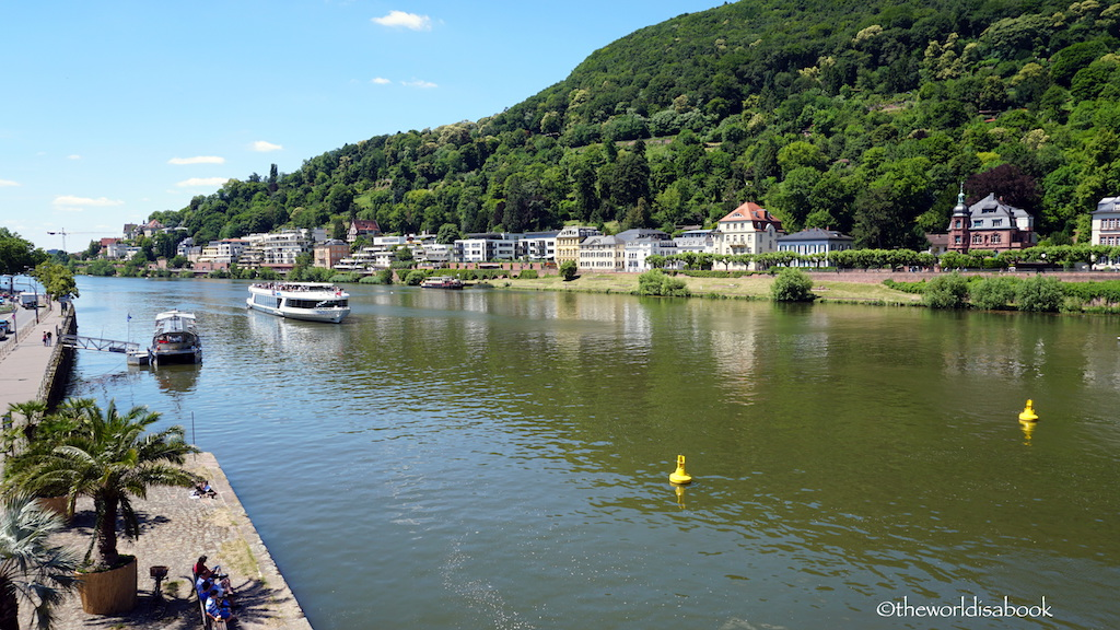 Heidelberg Neckar river with boat