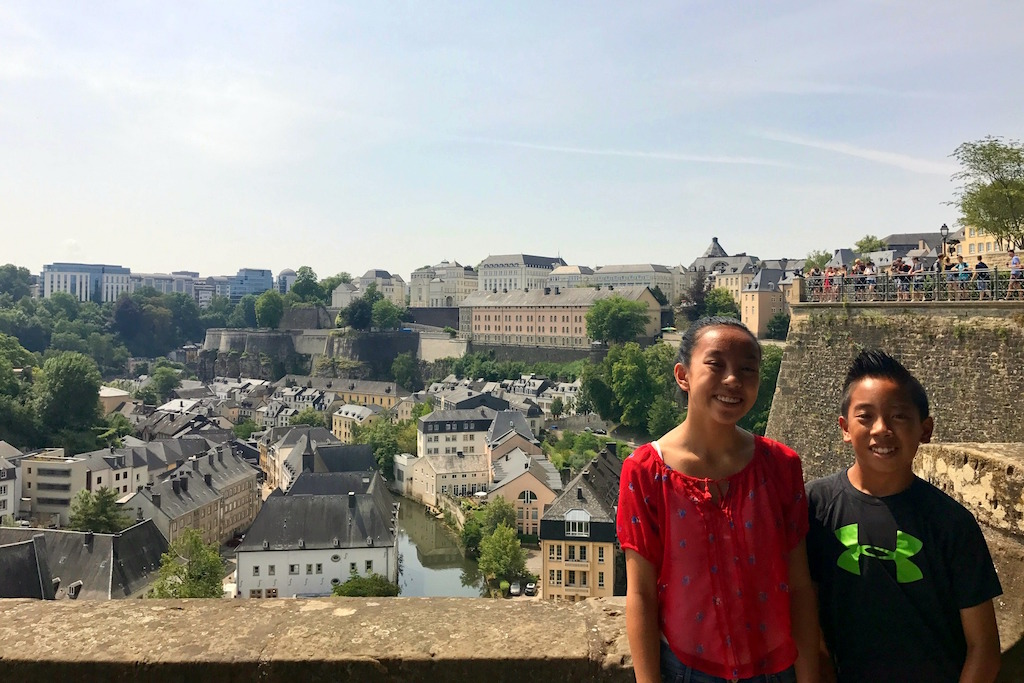 Luxembourg city with kids