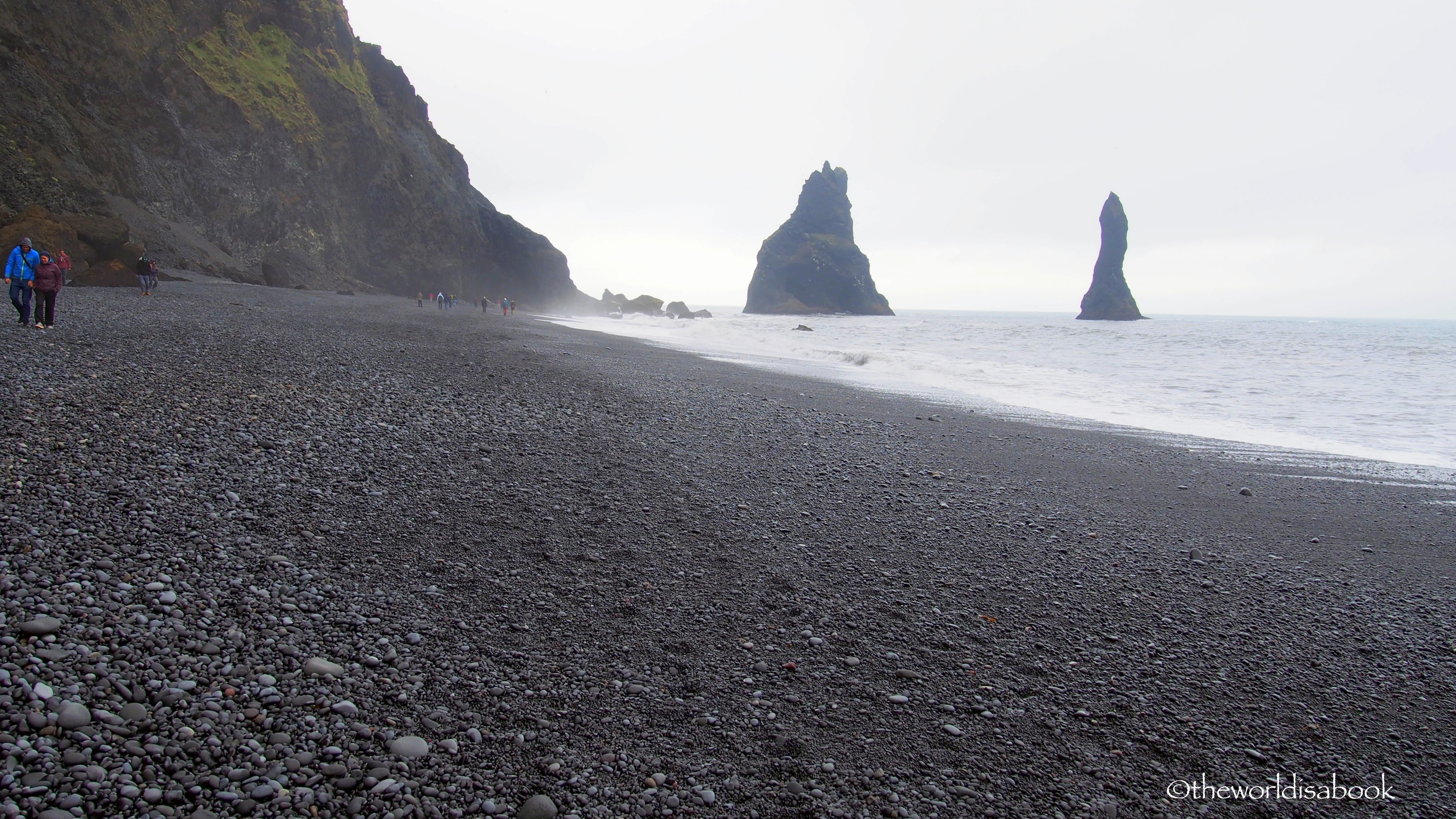 Walking reynisfjara black sand beach in iceland the world